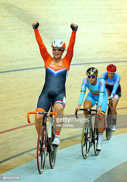 Kirsten Wild of Netherlands celebrates winning the gold in the Women's Scratch Race Final on day four of the UCI Track Cycling World Championships at...
