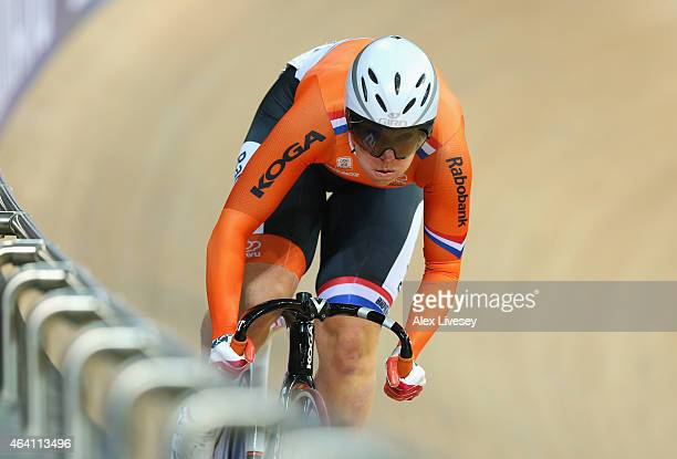 Kirsten Wild of Netherlands competes in the Women's Omnium Flying Lap during Day Five of the UCI Track Cycling World Championships at the National...