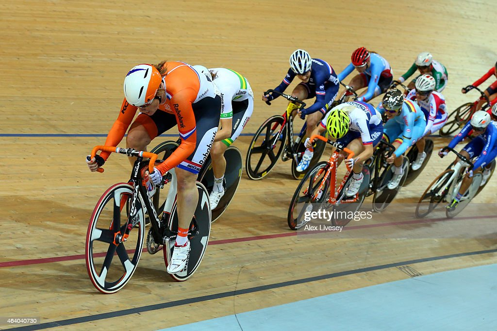 <a gi-track='captionPersonalityLinkClicked' href=/galleries/search?phrase=Kirsten+Wild&family=editorial&specificpeople=5701453 ng-click='$event.stopPropagation()'>Kirsten Wild</a> of Netherlands wins gold in the Women's Scratch Race Final on day four of the UCI Track Cycling World Championships at The National Velodrome on February 21, 2015 in Paris, France.