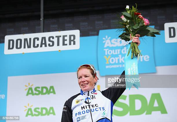 Kirsten Wild of Team Hitec Products and the Netherlands celebrates winning the women's race in the second stage of the 2016 Tour de Yorkshire between...