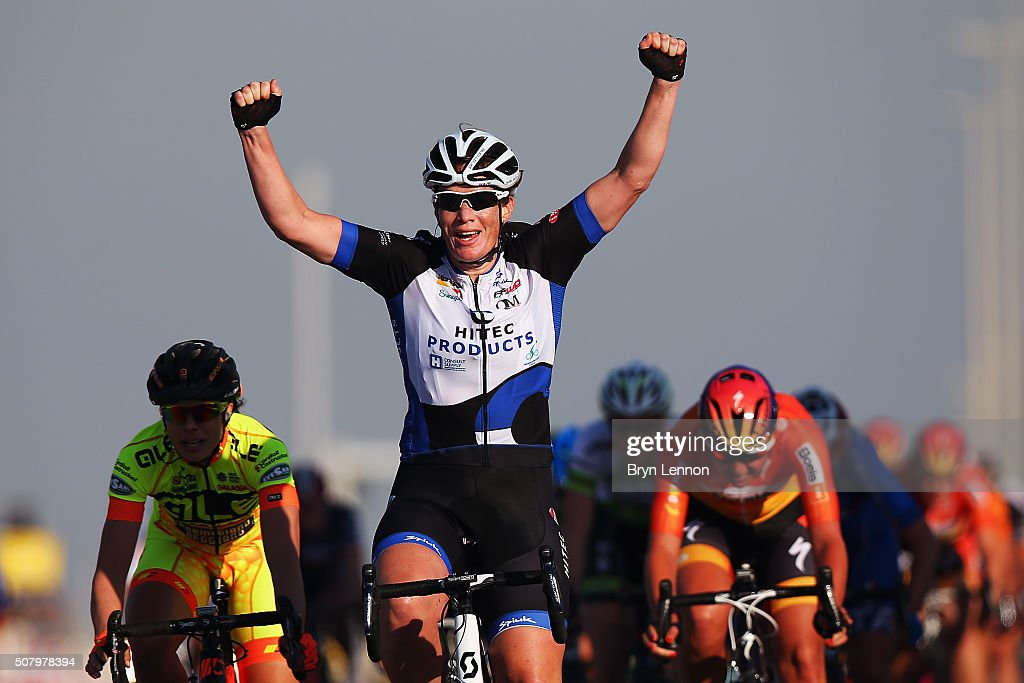 <a gi-track='captionPersonalityLinkClicked' href=/galleries/search?phrase=Kirsten+Wild&family=editorial&specificpeople=5701453 ng-click='$event.stopPropagation()'>Kirsten Wild</a> of The Netherlands and Hitec Products celebrates winning stage one of the 2016 Ladies Tour of Qatar from Qatar University to Qatar University on February 2, 2016 in Doha, Qatar. The stage will also serve as a test event for Doha 2016 World Road Race Championships in October.