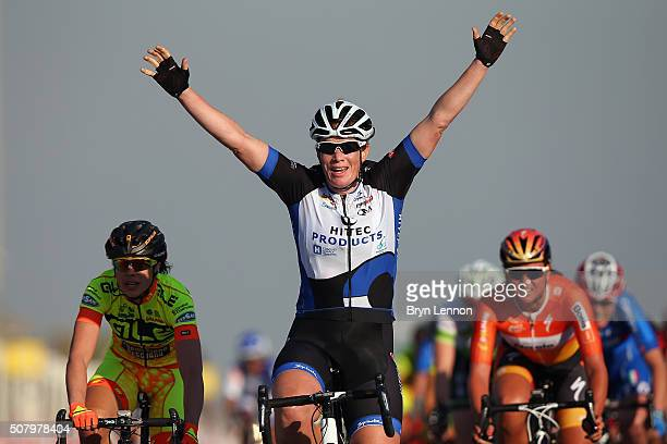 Kirsten Wild of The Netherlands and Hitec Products celebrates winning stage one of the 2016 Ladies Tour of Qatar from Qatar University to Qatar...