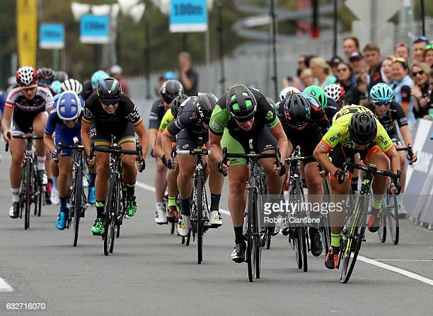 Kirsten WIld of the Netherlands and the Cylance Pro Cycling Team crosses the line to win the Towards Zero Race Melbourne as part of the 2017 Cadel...