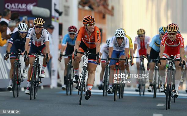 Kirsten Wild of The Netherlands ccrosses the finishline during the Elite Women road race on day seven of the 2016 UCI Road World Championships on...