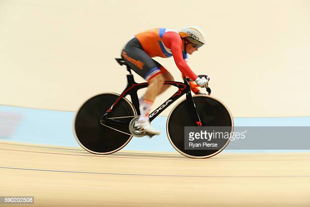 Kirsten Wild of the Netherlands competes during the Women's Omnium Flying Lap 56 race on Day 11 of the Rio 2016 Olympic Games at the Rio Olympic...