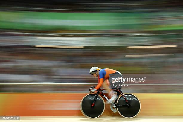 Kirsten Wild of the Netherlands competes during the Women's Omnium Points race on Day 11 of the Rio 2016 Olympic Games at the Rio Olympic Velodrome...