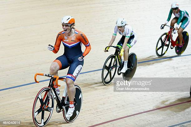 Kirsten Wild of the Netherlands Cycling Team celebrates after winning the gold medal in the Womens scratch final race during day 4 of the UCI Track...