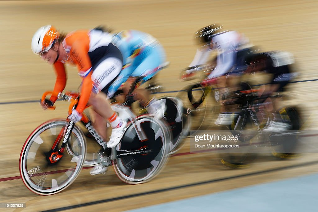 <a gi-track='captionPersonalityLinkClicked' href=/galleries/search?phrase=Kirsten+Wild&family=editorial&specificpeople=5701453 ng-click='$event.stopPropagation()'>Kirsten Wild</a> of the Netherlands Cycling Team leads the Women's Omnium Elimination Race during day 4 of the UCI Track Cycling World Championships held at National Velodrome on February 21, 2015 in Paris, France.
