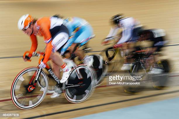 Kirsten Wild of the Netherlands Cycling Team leads the Women's Omnium Elimination Race during day 4 of the UCI Track Cycling World Championships held...