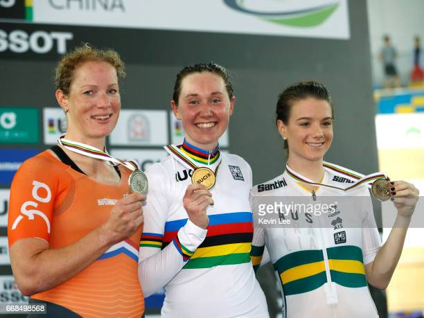 Kirsten Wild of the Netherlands Katie Archibald of Great Britain Amy Cure of Australia pose with their medals after Women's Omnium on Day 3 in 2017...