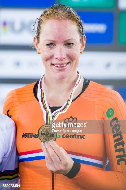 Kirsten Wild of the Netherlands receives the bronze medal in the Women's Points Race 25 km's prize ceremony during 2017 UCI World Cycling on April 16...