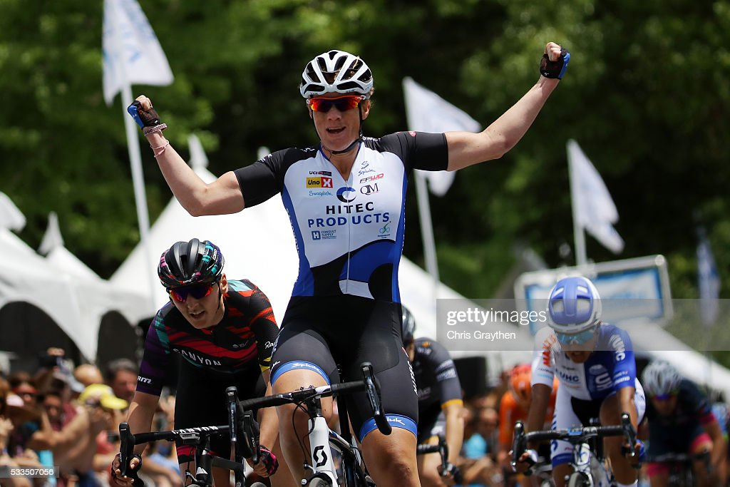 <a gi-track='captionPersonalityLinkClicked' href=/galleries/search?phrase=Kirsten+Wild&family=editorial&specificpeople=5701453 ng-click='$event.stopPropagation()'>Kirsten Wild</a> of the Netherlands riding for HITEC Products wins stage four of the Amgen Breakaway From Heart Disease Women's Race on May 22, 2016 in Sacramento, California.