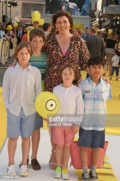 Kirstie Allsopp and children attends the World Premiere of 'Minions' at Odeon Leicester Square on June 11 2015 in London England