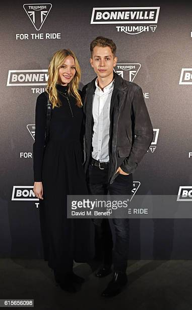 Kirstie Brittain and James McVey attend the Global VIP Reveal of the new Triumph Bonneville Bobber on October 19 2016 in London England