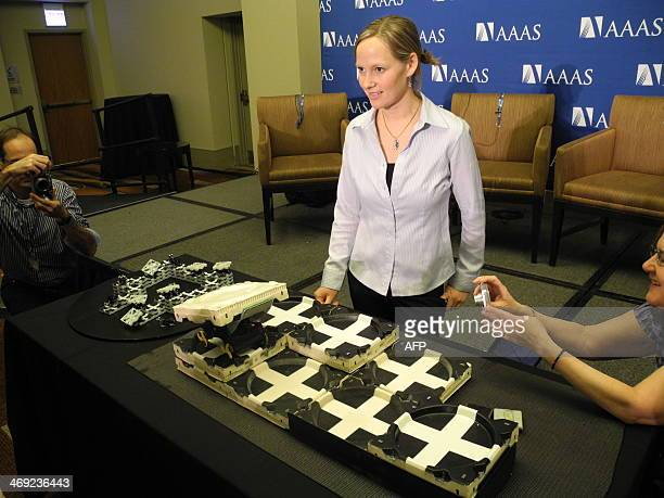 Kirstin Petersen an academic fellow in artifical intelligence at Harvard University demonstrates robots inspired by termites at the American...