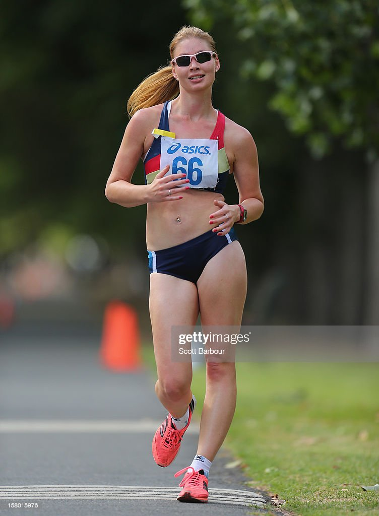 Kirstin Shaw of Victoria competes in the Womens 20000 metres Race Walk Invitation Open during the 50km race walking championships at Fawkner Park on December 9, 2012 in Melbourne, Australia.