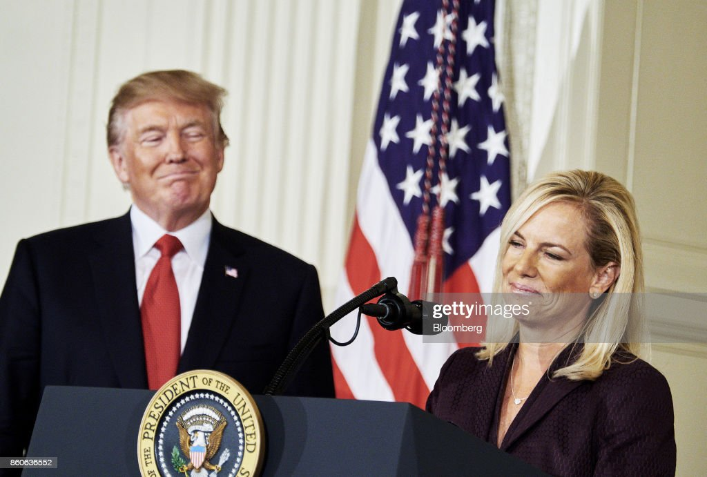 Kirstjen Nielsen, U.S. secretary of Homeland Security nominee, smiles after an introduction from U.S. President Donald Trump at the White House in Washington, D.C., U.S., on Thursday, Oct. 12, 2017. Trump announced his nomination of Kirstjen Nielsen, a top aide to White House Chief of Staff John Kelly, to succeed him as secretary of Homeland Security. Photographer: T.J. Kirkpatrick/Bloomberg via Getty Images
