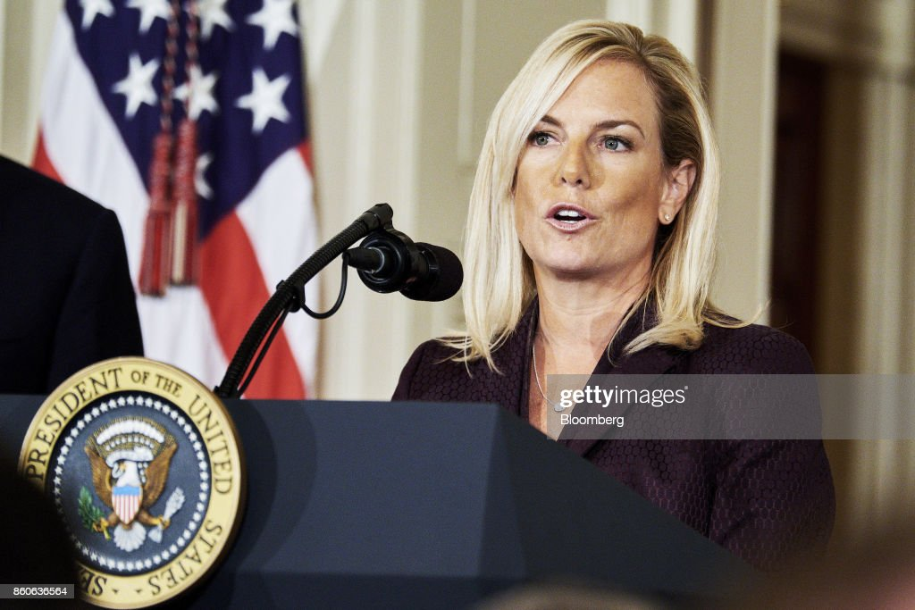 Kirstjen Nielsen, U.S. secretary of Homeland Security nominee, speaks after an introduction from U.S. President Donald Trump, not pictured, at the White House in Washington, D.C., U.S., on Thursday, Oct. 12, 2017. Trump announced his nomination of Kirstjen Nielsen, a top aide to White House Chief of Staff John Kelly, to succeed him as secretary of Homeland Security. Photographer: T.J. Kirkpatrick/Bloomberg via Getty Images
