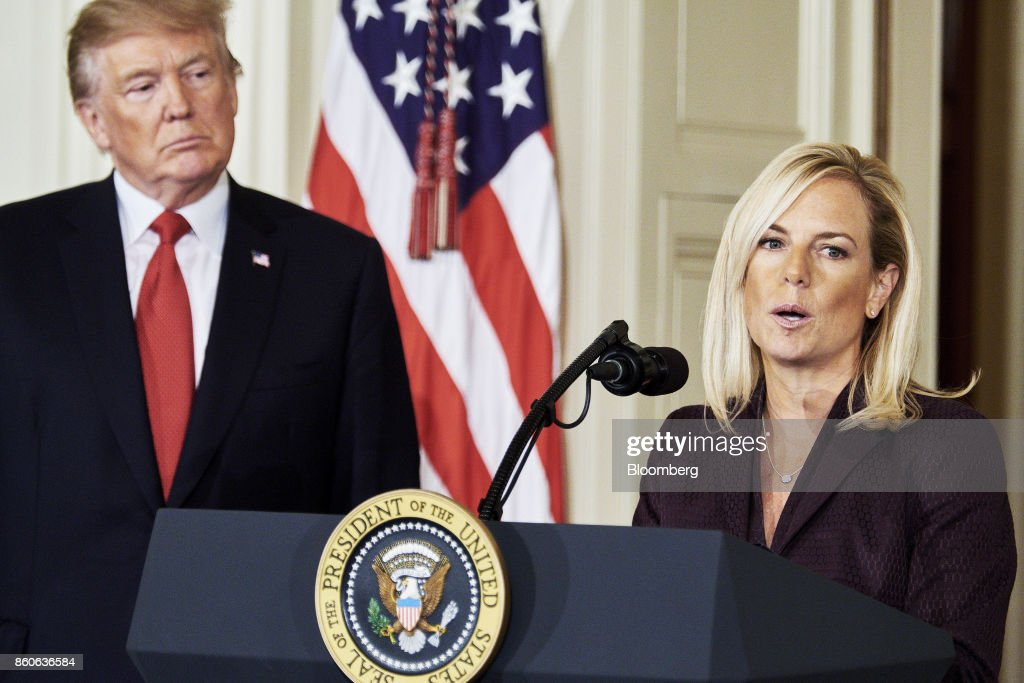 Kirstjen Nielsen, U.S. secretary of Homeland Security nominee, speaks after an introduction from U.S. President Donald Trump at the White House in Washington, D.C., U.S., on Thursday, Oct. 12, 2017. Trump announced his nomination of Kirstjen Nielsen, a top aide to White House Chief of Staff John Kelly, to succeed him as secretary of Homeland Security. Photographer: T.J. Kirkpatrick/Bloomberg via Getty Images