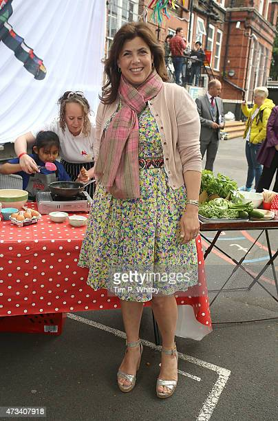Kirsty Allsop attends a photocall during activities on Food Revolution Day at Rhyl Primary School on May 15 2015 in London England