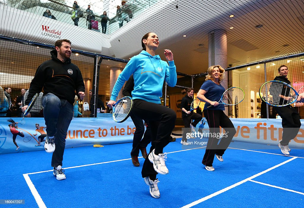 Kirsty Gallacher takes part during a Cardio Tennis session at Westfield London on January 25, 2013 in London, England.