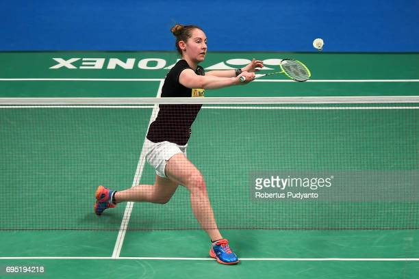 Kirsty Gilmour of Scotland competes against Febby Angguni of Indonesia during Womens single qualification round match of the BCA Indonesia Open Super...