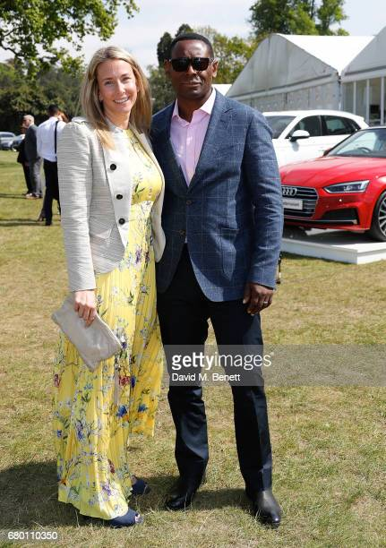 Kirsty Handy and David Harewood attend the Audi Polo Challenge at Coworth Park on May 7 2017 in London United Kingdom