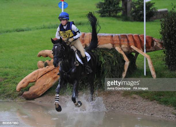 Kirsty Johnston riding Opposition Detective competes in the CCI3* cross country event during the Bramham International Horse Trials at Bramham Park...