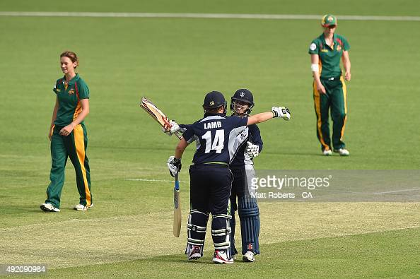 Kirsty Lamb and Kristen Beams of the Spirit celebrate during the round one WNCL match between Victoria and Tasmania at Allan Border Field on October...