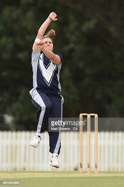 Kirsty Lamb of the Spirit bowls during the round one WNCL match between Queensland and Victoria at Allan Border Field on October 9 2015 in Brisbane...