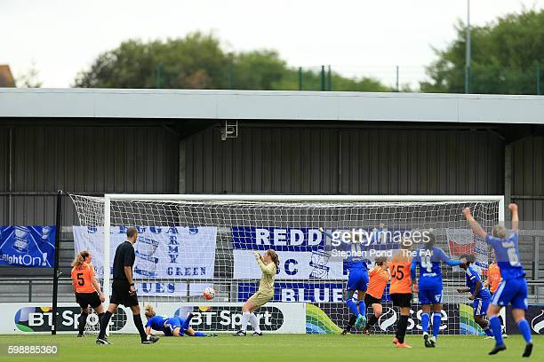 Kirsty Linnett of Birmingham City Ladies scores the opening goal during the Continental Cup Semi Final match between London Bees and Birmingham City...