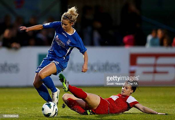 Kirsty Linnett of Birmingham is challenged by Jasmine Matthews of Bristol during The FA WSL match between Bristol Academy Women and Birmingham City...