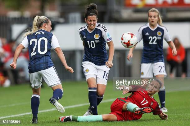 Kirsty Smith of Scotland Leanne Crichton of Scotland and Vanessa Marques of Portugal battle for the ball during the UEFA Women's Euro 2017 Group D...
