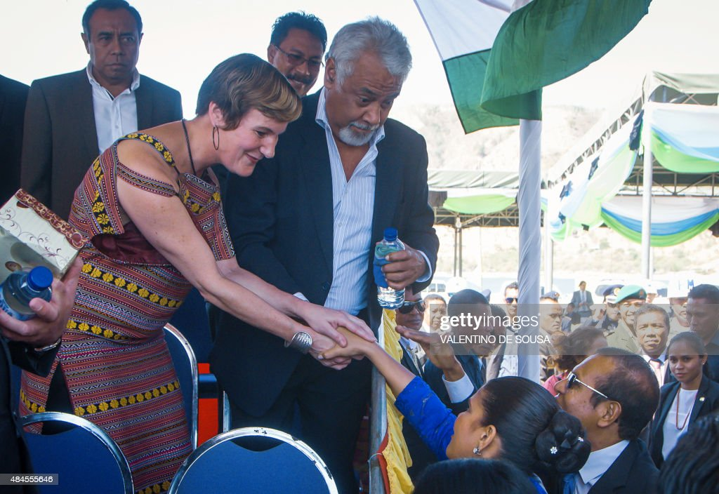 Kirsty Sword Gusmão wife of East Timor's former prime minister Xanana Gusmao greets East Timor's First Lady Isabel da Costa Ferreira while President...