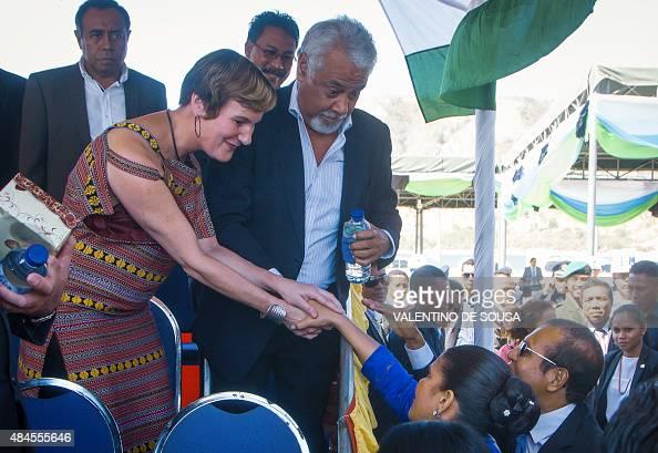 Kirsty Sword Gusmão wife of East Timor's former prime minister Xanana Gusmao greets East Timor's First Lady Isabel da Costa Ferreira while President...