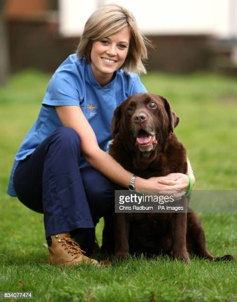 Kirsty Thompson from Eastfate vetenary group in Bury St Edmunds with Rusty a chocolatecoloured Labrador who has lost five stone in less than two years