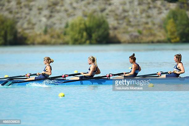 Kirsty Thompson Hannah Starnes Anna Miles and Charlotte McIntyre of Nelson Rowing Club compete in the Womans open coxless four final during the South...