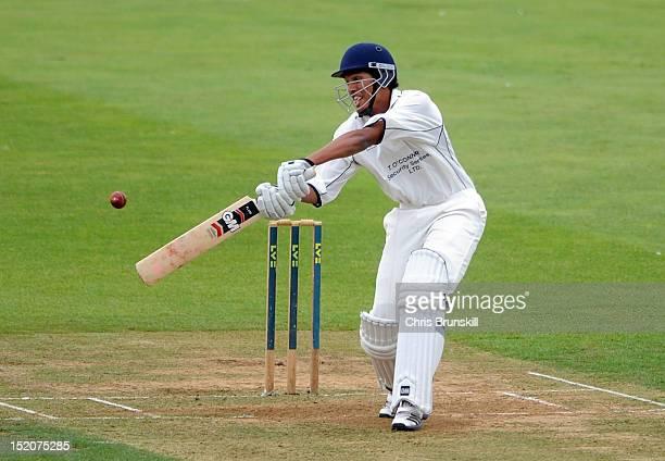 Kishen Velani of Wanstead Snaresbrook bats during the Kingfisher Beer Cup Final between York and Wanstead Snaresbrook at The County Ground on...