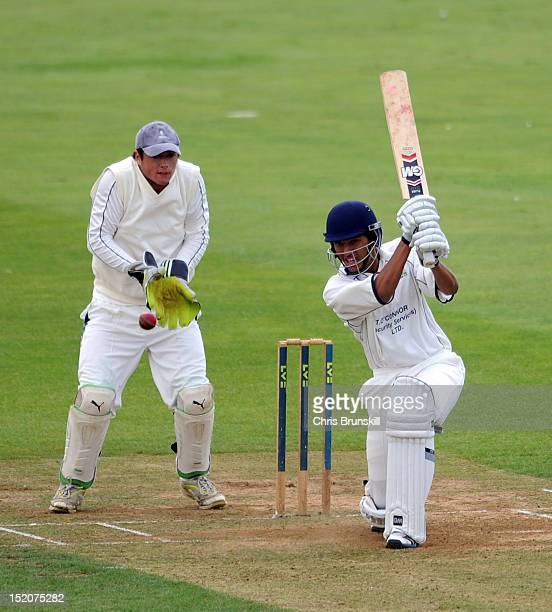 Kishen Velani of Wanstead Snaresbrook hits out to the boundary during the Kingfisher Beer Cup Final between York and Wanstead Snaresbrook at The...