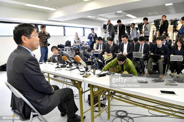 Kishiwada City Moyor Yoshinori Shigi attends a press conference on November 27 2017 in Kishiwada Osaka Japan A highranking official of a Liberal...