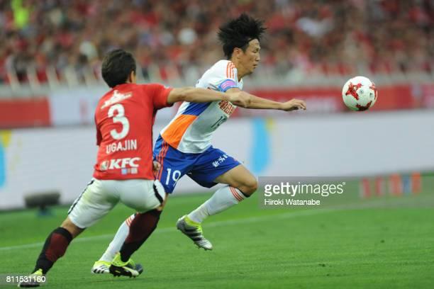 Kisho Yano of Albirex Niigata in action during the JLeague J1 match between Urawa Red Diamonds and Albirex Niigata at Saitama Stadium on July 9 2017...
