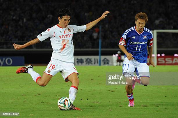 Kisho Yano of Nagoya Grampus in action during the JLeague match between Yokohama FMarinos and Nagoya Grampus at Nissan Stdium on September 13 2014 in...