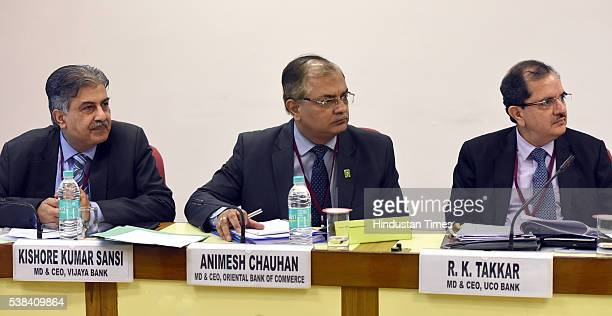 Kishore Kumar Sansi MD CEO Vijaya Bank Animesh Chauhan MD CEO Oriental Bank Of Commerce and RK Takkar Md CEO UCO Bank during the Quarterly...
