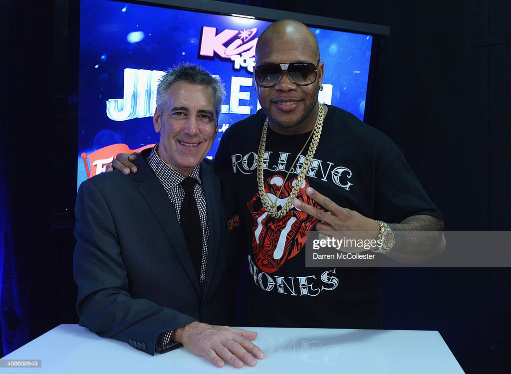 Kiss 108's Billy Costa and <a gi-track='captionPersonalityLinkClicked' href=/galleries/search?phrase=Flo+Rida&family=editorial&specificpeople=4456012 ng-click='$event.stopPropagation()'>Flo Rida</a> pose backstage at KISS 108's Jingle Ball 2013 at TD Garden on December 14, 2013 in Boston, MA.