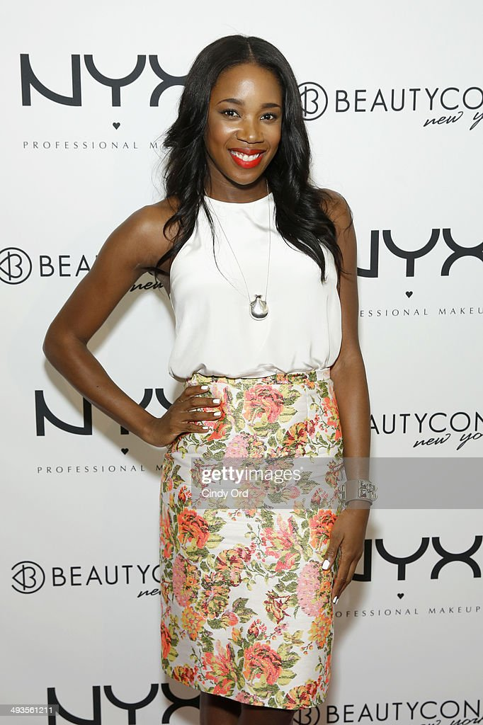 <a gi-track='captionPersonalityLinkClicked' href=/galleries/search?phrase=DJ+Kiss&family=editorial&specificpeople=4468592 ng-click='$event.stopPropagation()'>DJ Kiss</a> attends NYX Cosmetics Talent Lounge At BeautyConNYC at Pier 36 on May 24, 2014 in New York City.
