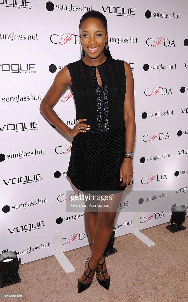 DJ Kiss attends the Vogue Eyewear and CFDA unveiling of the 'Emma' sunglass with Nanette Lepore and Emma Roberts at Sunglass Hut on October 18, 2012 in New York City.