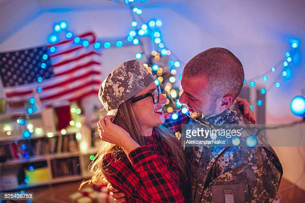 Kiss for a soldier?