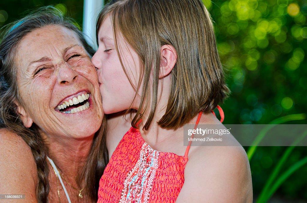 Kiss for grandma : Stock Photo