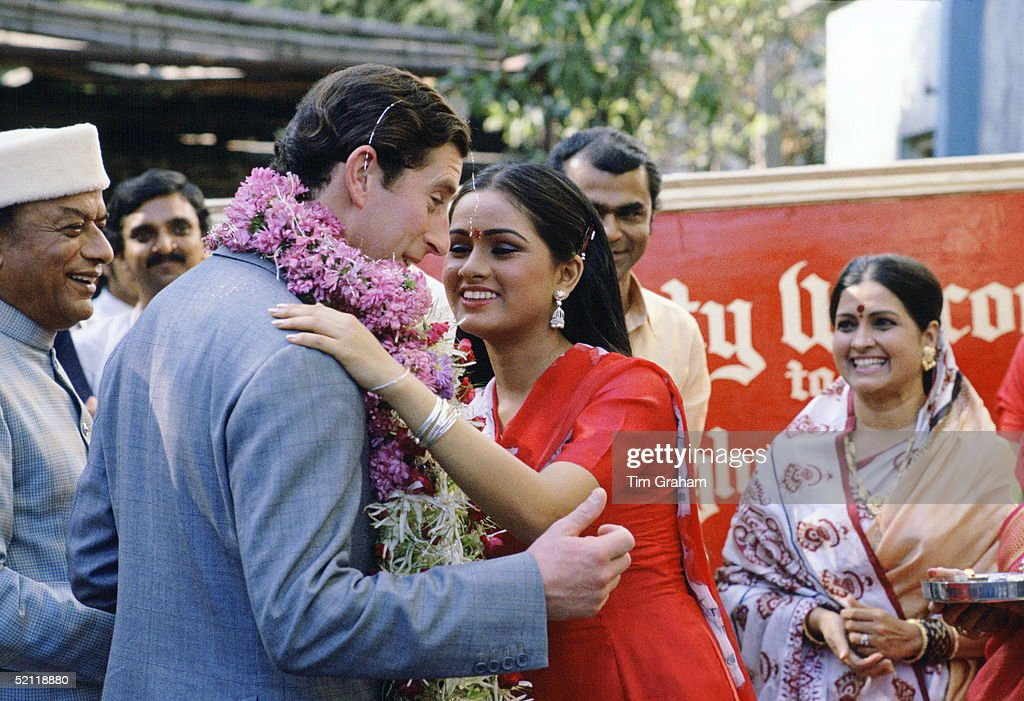 A Kiss For Prince Charles From Padmini Kolhapure, India's Top Screen Star, During A Visit To The Bombay Film Studios.