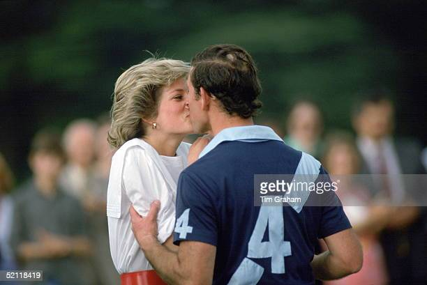 Kiss For Princess Diana From Prince Charles After She Presents Him With A Prize At Polo In Cirencester